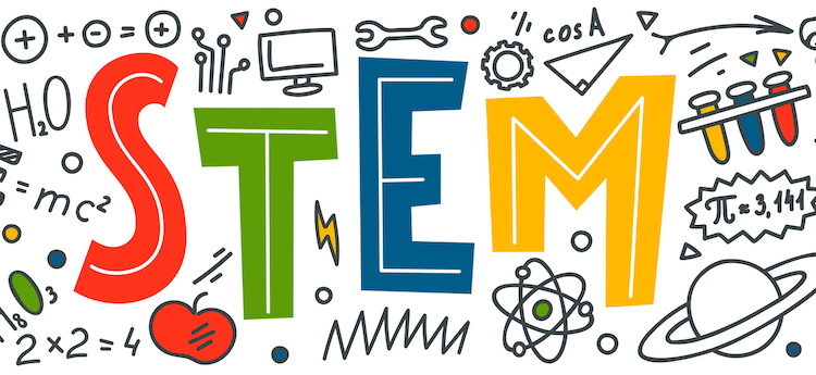 """STEM. Science, technology, engineering, mathematics. Science education doodles and hand written word """"STEM"""""""